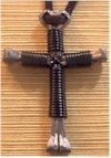 Hand-Made 'NAILS & WIRE' Cross Necklace (black)