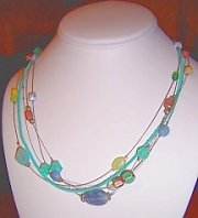 5-STRAND MULTI-COLOR BEAD NECKLACE - free shipping