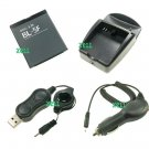 Battery BL-5F + In-car Charger + USB Charge Cable + Desktop Charger Kit for Nokia N95 E65