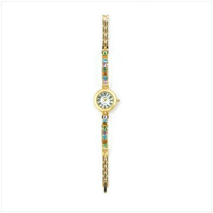 Colorful Crystals and Gold Lady's Watch