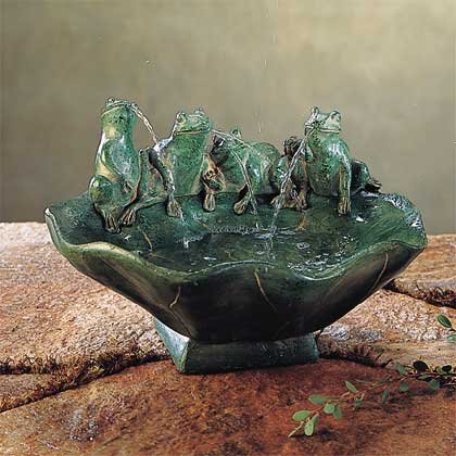 Frog & Lily Pad Tabletop Fountain