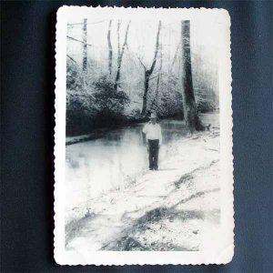 Vintage Black and White Photo Man Standing Next to Creek c1940s (PH004)