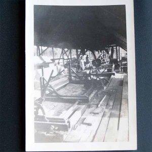 Vintage Black and White Photo Inside a Sawmill or Lumberyard c1940s (PH003)