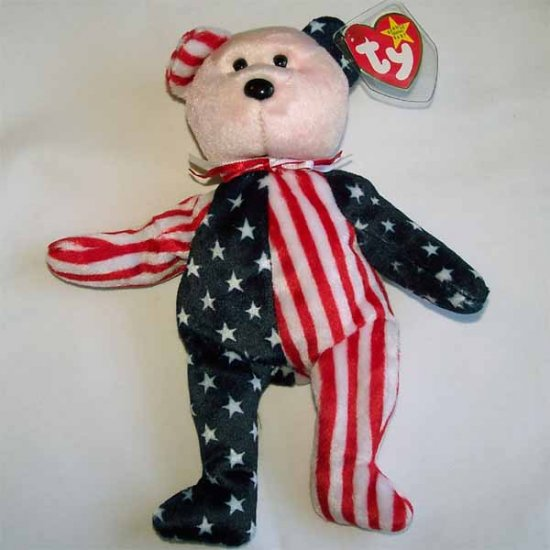 Spangle the American Bear Ty Beanie Baby Red Face MWMT