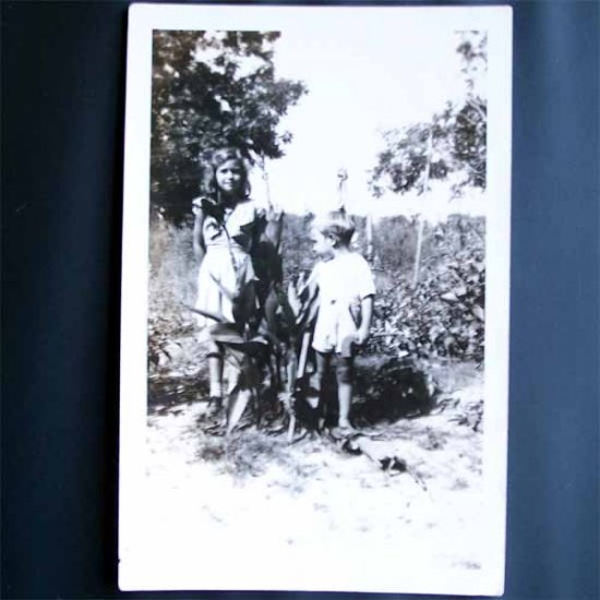 Vintage Photo Girl and Young Boy c1940s (PH001)