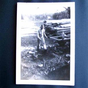 Vintage Photo Man in Lumber Yard c1940-50s (PH002)