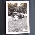 Vintage Black and White Photo Woman Sitting in Park c1940s (PH012)