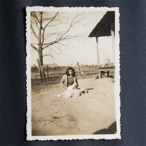 Vintage Black and White Photo Woman with Baby in Front Yard c1940s (PH017)