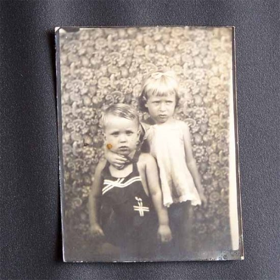 Vintage Black and White Photo Young Girl and Boy c1930s (PH018)
