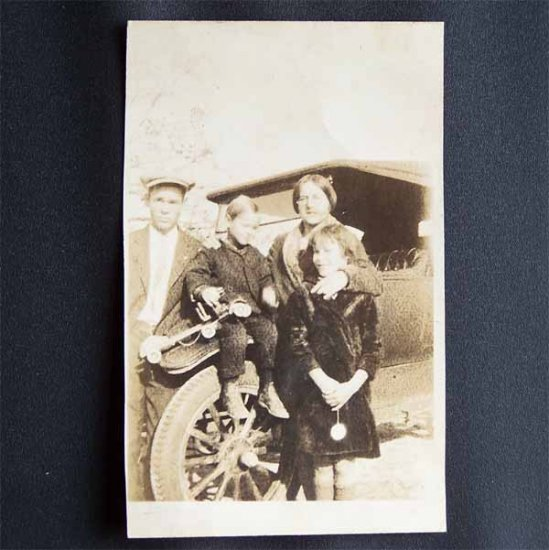 Vintage Black and White Photo Family Standing in Front of Car c1920s - 1930s (PH0010)