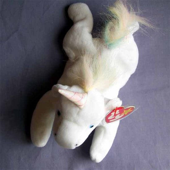Mystic the Unicorn Ty Beanie Baby MWMT Iridescent Horn with Fluffy Mane