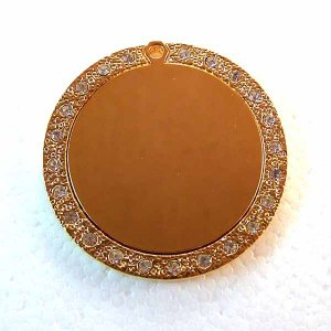 Blank Engravable Bling Bling Pendant Gold Plated Stainless Steel (DT-2)