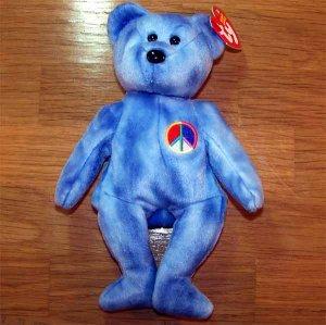Bear the Bear Ty Beanie Baby with Peace Symbol MWMT