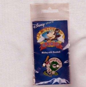 Mickey with Baseball Disney Lapel Pin - Disney 12 Months of Magic
