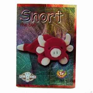 Snort the Bull Silver Retired Ty Beanie Baby Single Card Series 2 (BB6)