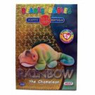 Rainbow the Chameleon Silver Birthday Ty Beanie Baby Single Card Series 2 (BB7)