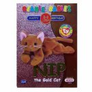 Nip the Gold Cat Green Birthday Ty Beanie Baby Single Card Series 2 (BB13)