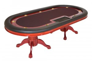 Bravatto Racetrack Dealer Edition Poker Table - Cherry Finish