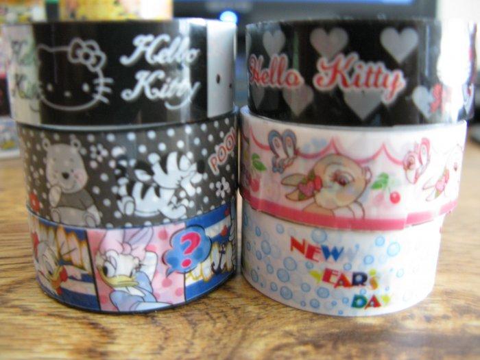 Deco Tape Set 3 Winnie the pooh Disney Hello Kitty