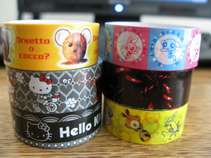 Deco Tape Set 7 hello kitty powerpuff girl's pokemon