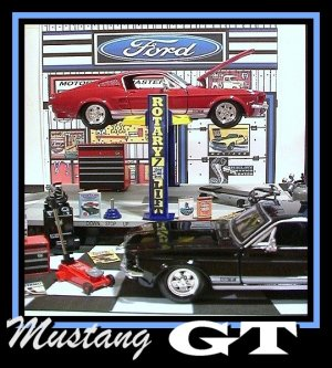 1967 FORD MUSTANG GT GARAGE W/ ELECTRIC CAR LIFT & 2 CARS