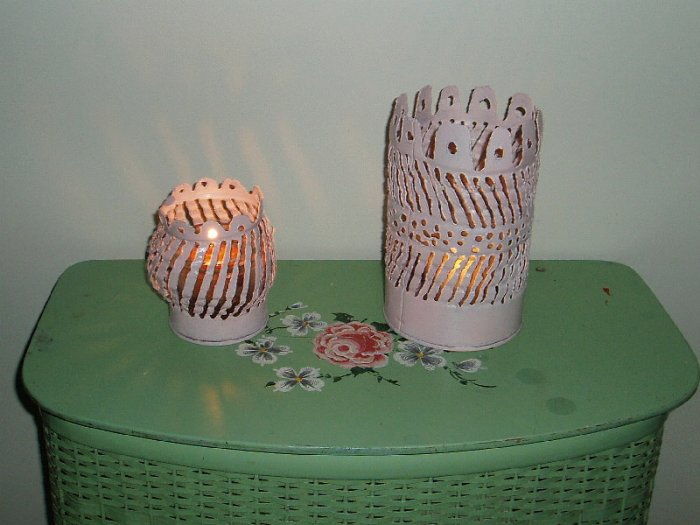 """Vintage Shabby Pink  Chic Candle Holders  """"Tincans"""""""