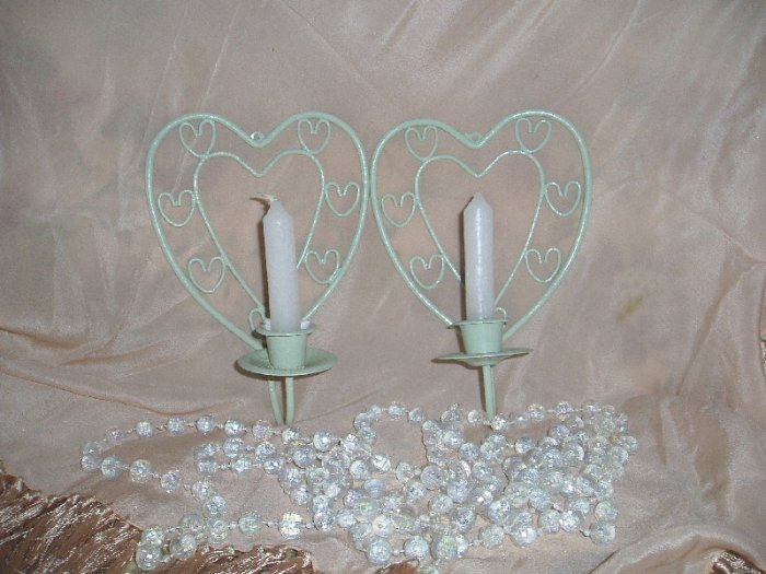 Shabby Green Pair of Chic Wall Sconce/Candle Holders