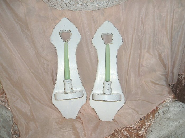 Vintage Shabby White Chic Distressed Candle  Sconces