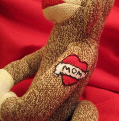 Sock Monkey with Handmade PERSONALIZED heart  tattoo