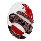 SOCK MONKEY Christmas Tree Ornament  Porcelain Oval Shape 25916322