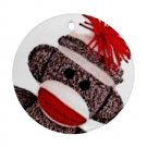 SOCK MONKEY Christmas Tree Ornament  Porcelain Round Shape 25916321