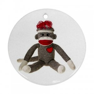 Sitting SOCK MONKEY Christmas Tree Ornament  Porcelain Round Shape 26402338