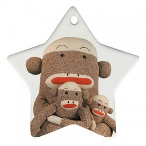 Group of SOCK MONKEYS Christmas Tree Ornament  Porcelain Star Shape 27184497