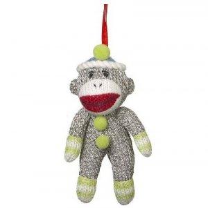 Sock Monkey Ornament With Green Trim Stuffed Small Decoration