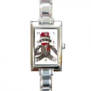 Sock Monkey Watch Retangular Italian Charm Womens Jewelry 26402322