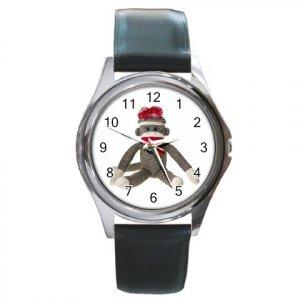 Sock Monkey Watch Round Leather Band Unisex Jewelry 26402324