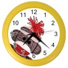 Sock Monkey Face Wall Clock Yellow Frame 25916346