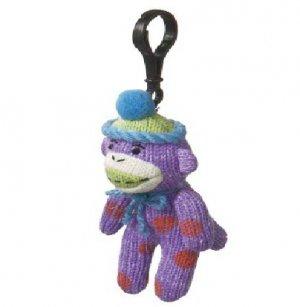 Small Sock Monkey Purple w Orange Polka Dots Clip On Stuffed Decoration