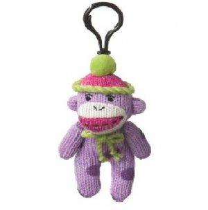 Small Sock Monkey Purple Polka Dots Clip On Stuffed Decoration