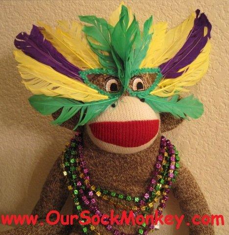 "Mardi Gras Sock Monkey Big 18"" with Handmade Mask"