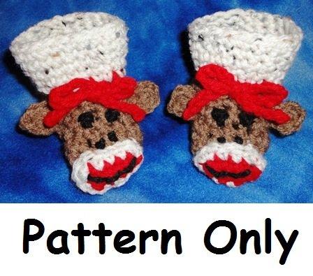 Sock Monkey Baby Bootie Crochet Pattern Size 3 - 9 Months PDF File
