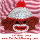 Sock Monkey Hat Crochet Pattern Size Newborn to 2 years Baby Toddler