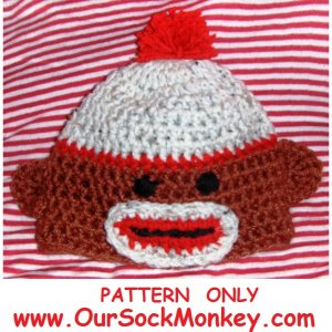 Sock Monkey Hat Crochet Pattern Size Newborn to 2 years Baby Toddler