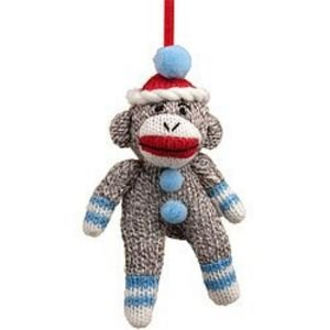 Sock Monkey Ornament With Blue Trim Stuffed Small Decoration
