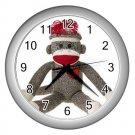 Sock Monkey Silver  Wall Clock 26402374