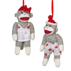 Pair of Sock Monkey Sweethearts His Her Couple Hearts Stuffed Decoration