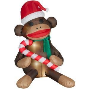 Sock Monkey 6ft Christmas Airblown Inflatable with Santa Hat Candy Cane