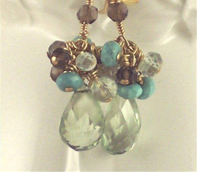 L A Y L A - - Prasiolite, Turquoise, Smoky Quartz, Aquamarine, and Gold Earrings