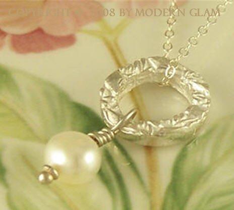 E L I Z A B E T H - - Fine Silver and Pearl Drop Necklace
