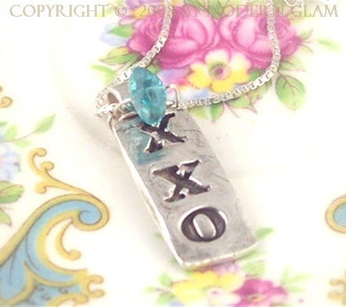 X X O - - Organic Fine Silver Pendant With Apatite on Sterling SIlver Chain